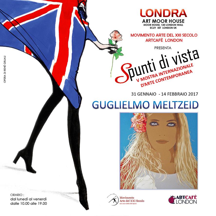 Guglielmo Meltzeid a 'Spunti di vista', Mostra Internazionale d'Arte Contemporanea, Londra, 2017 (opera grafica di Renè Gruau) © l'artista / MAXXIS / ArtCafé London / Art Moor House