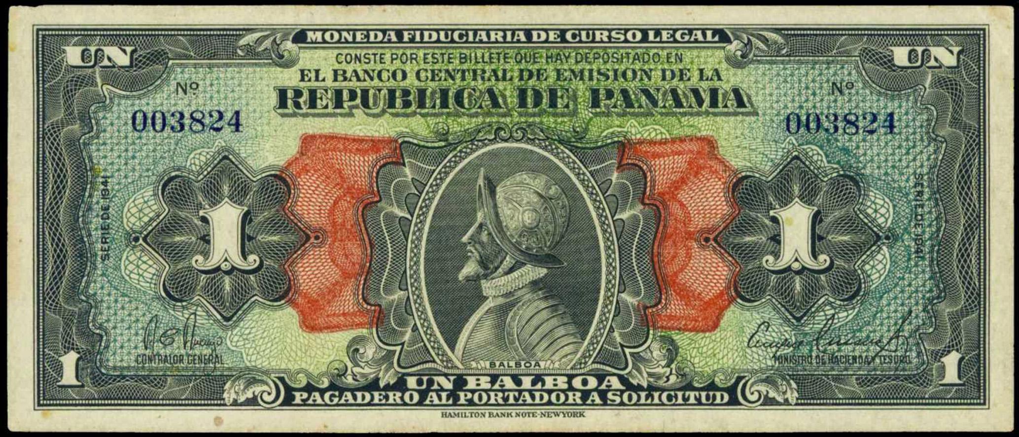 Banconota da 1 Balboa, 1941 (recto) © Banco Central de Panama / Hamilton Bank-note