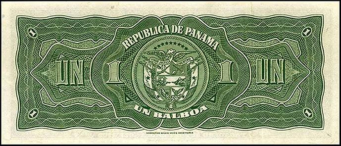 Banconota da 1 Balboa, 1941 (verso) © Banco Central de Panama / Hamilton Bank-note