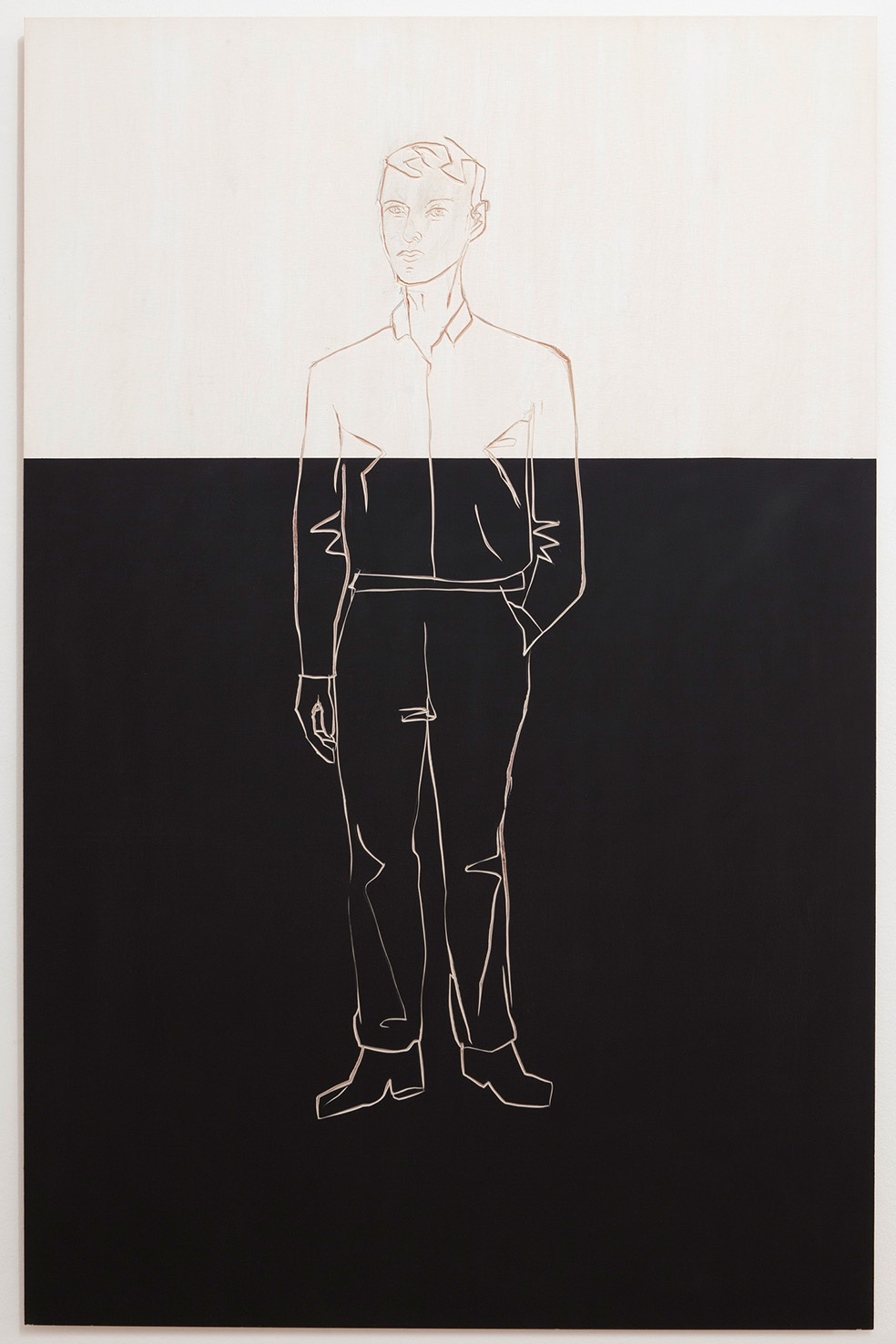 S. Balkenhol, 'Man on black and white background', 2013, compensato dipinto e intagliato © l'artista / Luce Gallery