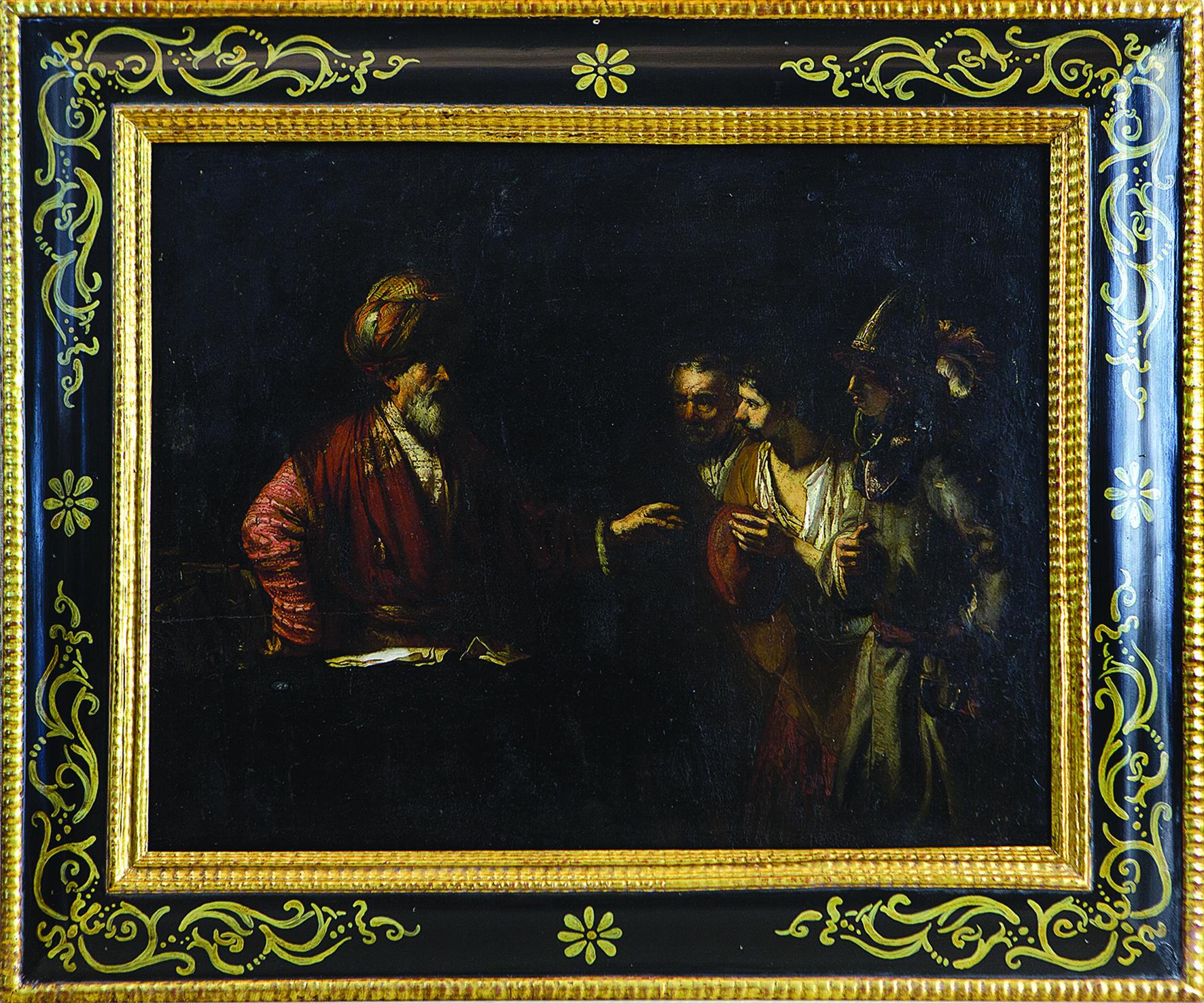 Rembrandt Harmenszoon van Rijn (1606-1669) (attr.), 'La parabola del servo infedele', olio su tavola, 49x62 cm., Collezione R. Rubiola, foto di C. Massarente ©