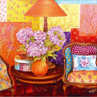 Alessandra Tabarrani, 'Un piccolo angolo fiorito', 2012, olio su tela, 70x70 cm. © l'artista