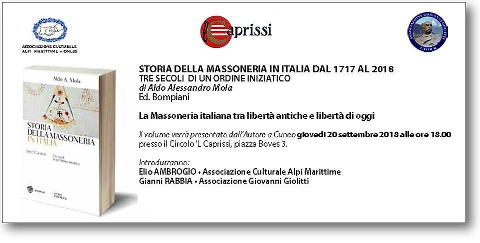 «Storia della Massoneria in Italia dal 1717 al 2018», a Cuneo